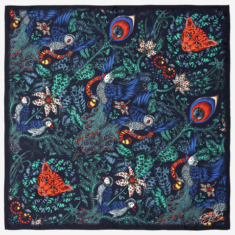 The new Amazon Silk Neckerchief in Navy, by luxury designer and illustrator Emma J Shipley.