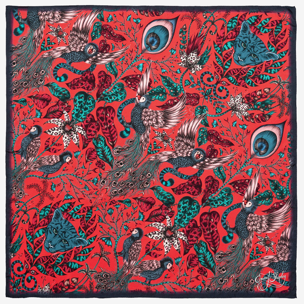 The new Amazon Silk Neckerchief in Red, by luxury designer and illustrator Emma J Shipley.