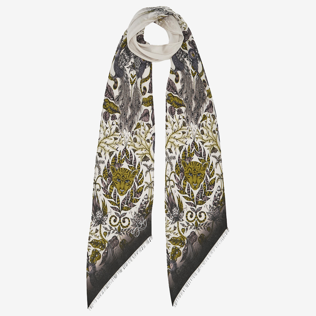 The new Amazon Silk Skinny Scarf in Gold, by luxury designer and illustrator Emma J Shipley.