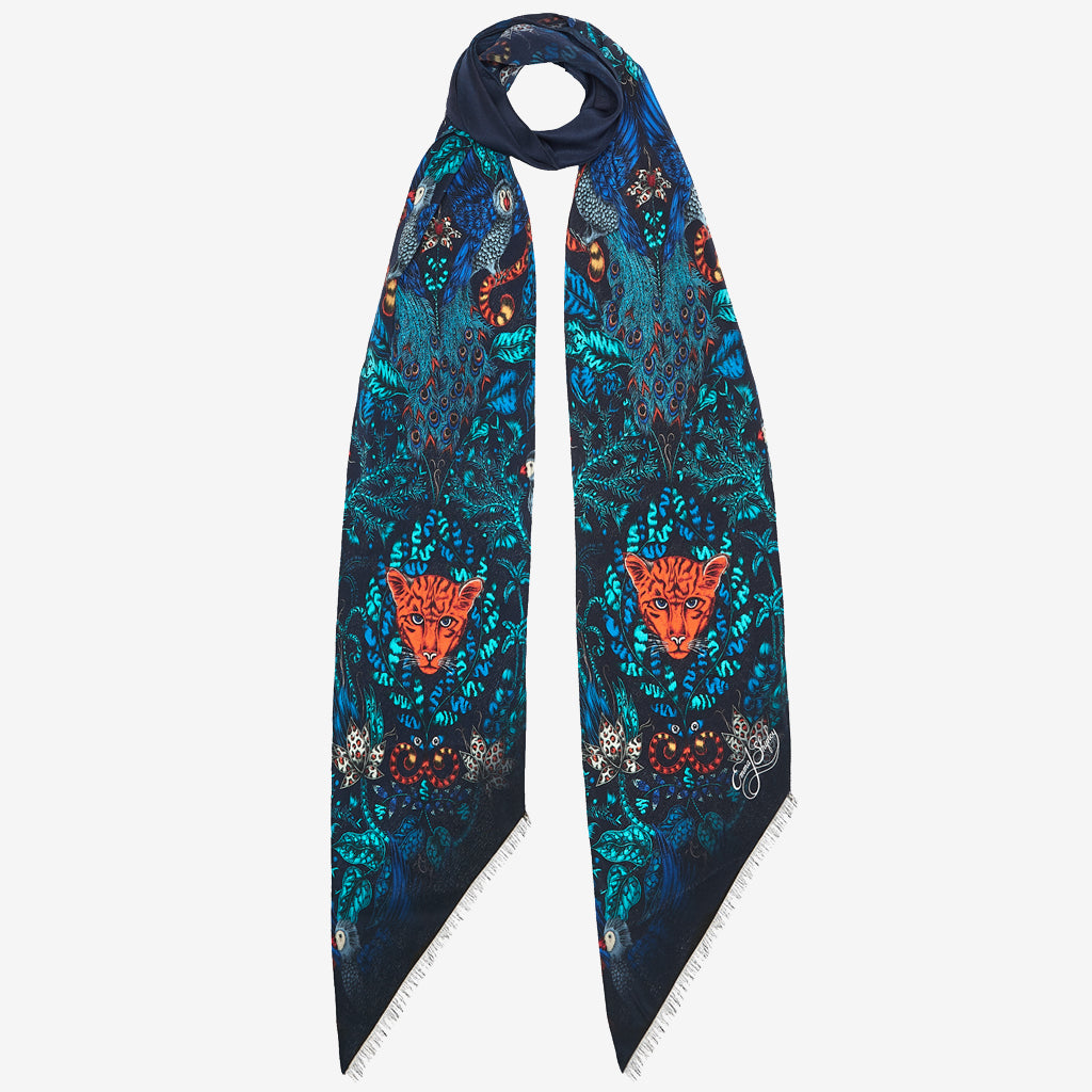 The new Amazon Silk Skinny Scarf in Navy, by luxury designer and illustrator Emma J Shipley.