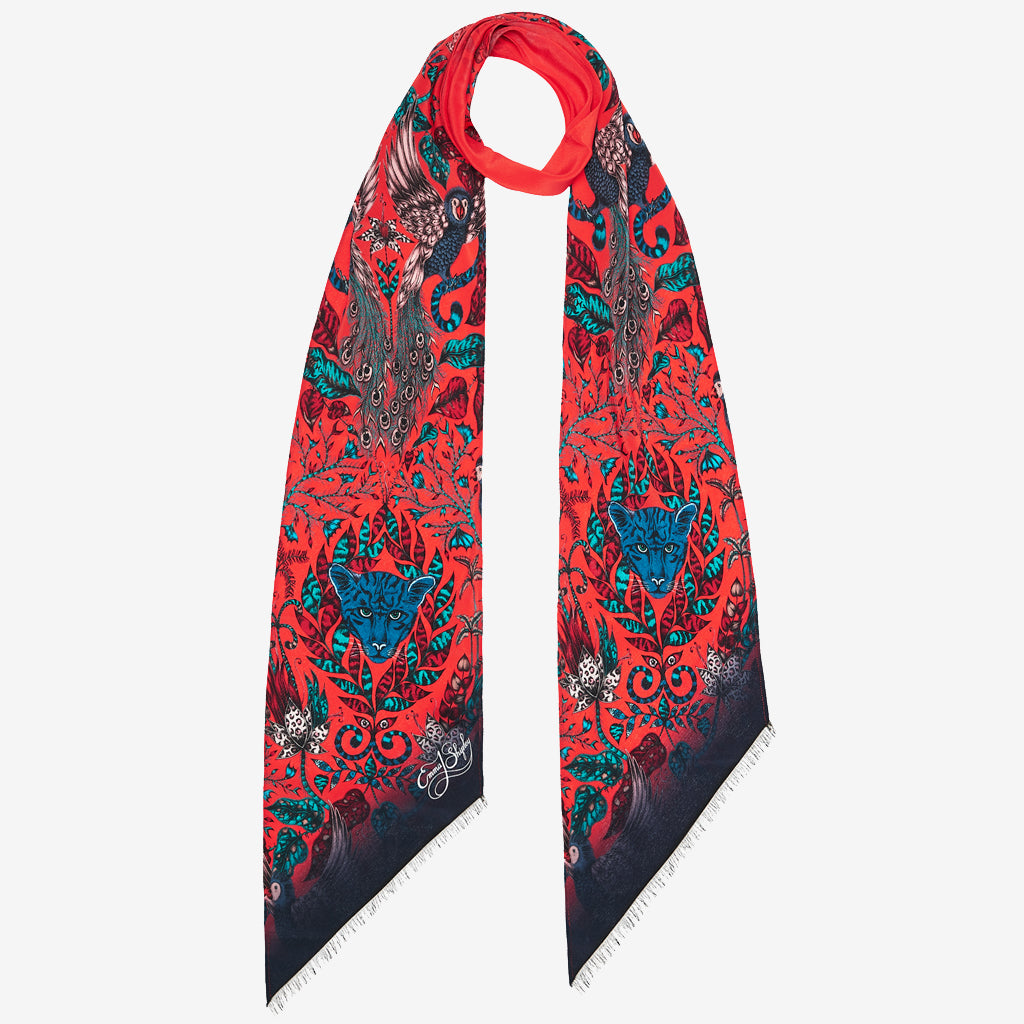 The new Amazon Silk Skinny Scarf in Red, by luxury designer and illustrator Emma J Shipley.