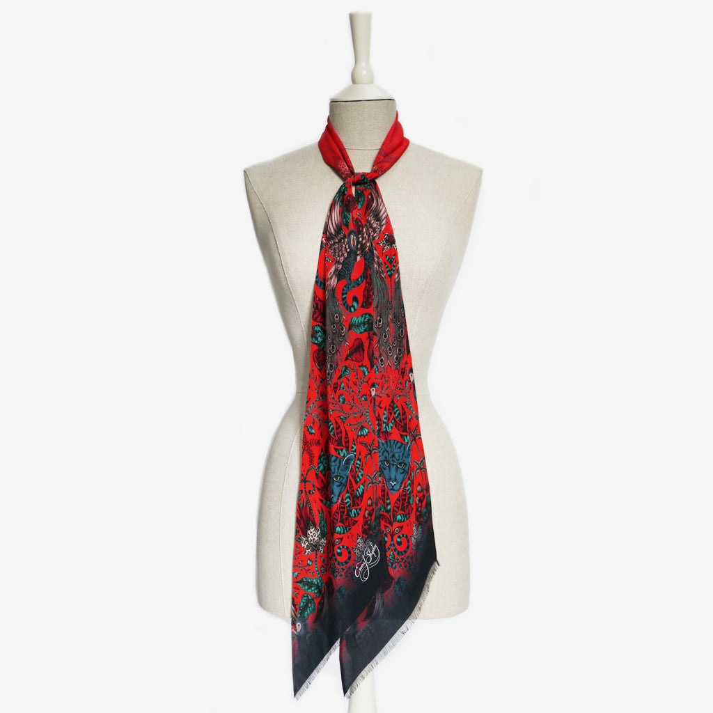 A tied example of the Amazon Silk Skinny Scarf by Emma J Shipley, taken from the Heroes collection.