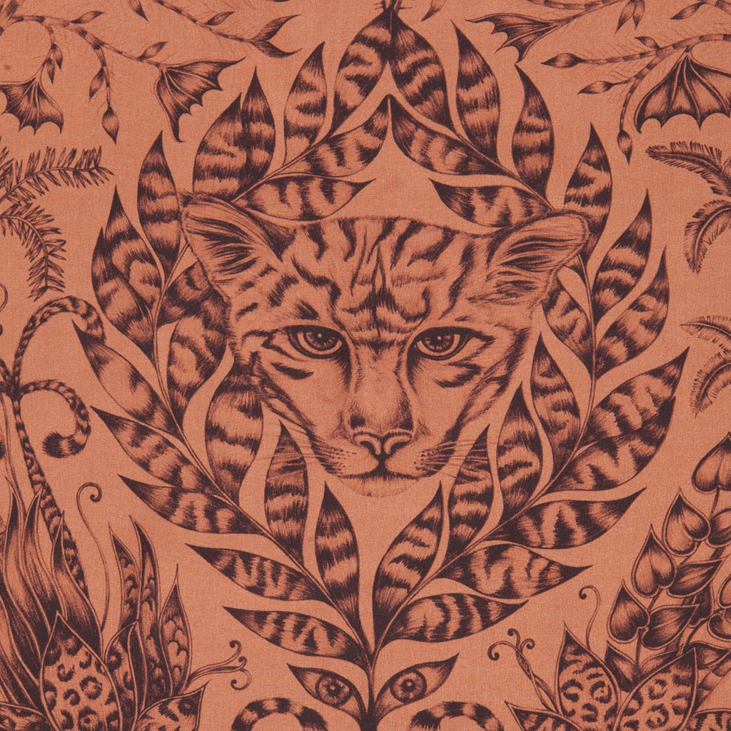 A detailed close-up of the hand-drawn Jaguar that features on the Orange Amazon Silk Chiffon Skinny Scarf by Emma J Shipley.
