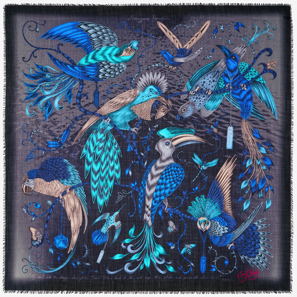 The new Audubon Fine Wool Scarf in Blue, by luxury designer and illustrator Emma J Shipley.