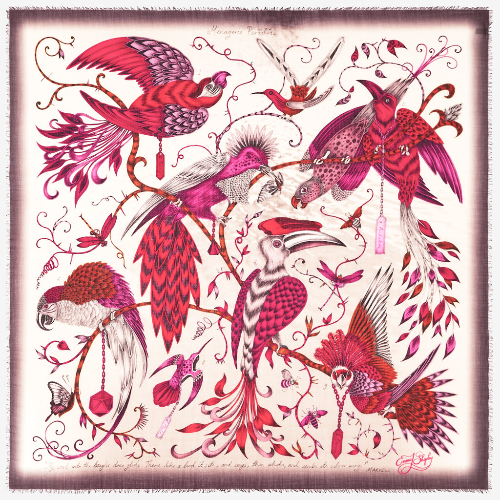The new Audubon Fine Wool Scarf in Pink, by luxury designer and illustrator Emma J Shipley.