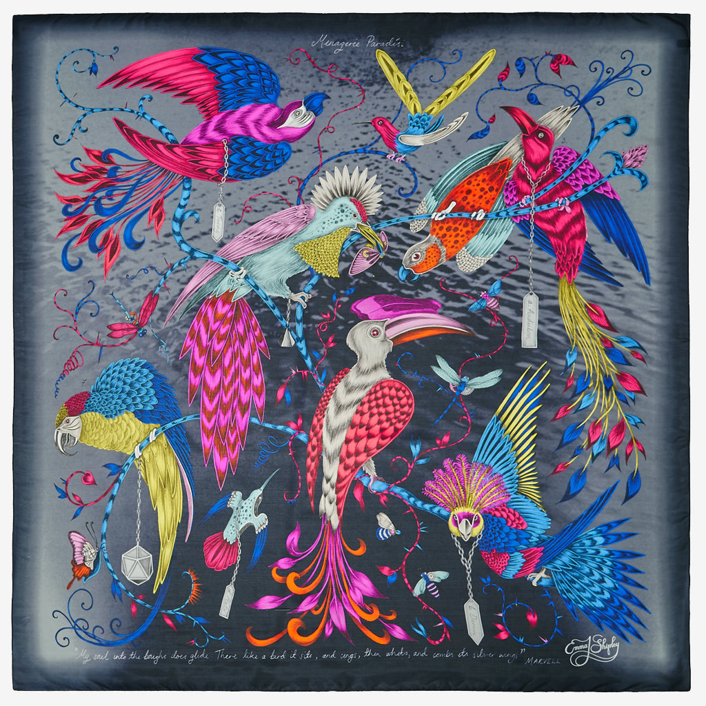 The new Audubon Silk Chiffon Scarf in various colours, by luxury designer and illustrator Emma J Shipley.