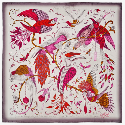 The new Audubon Silk Chiffon Scarf in Pink, by luxury designer and illustrator Emma J Shipley.