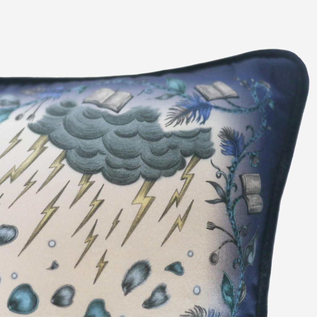 Detailed image of the cursed petals and weather illustrations featured on the Disney x Emma J Shipley Beauty and the Beast cushion in Blue.