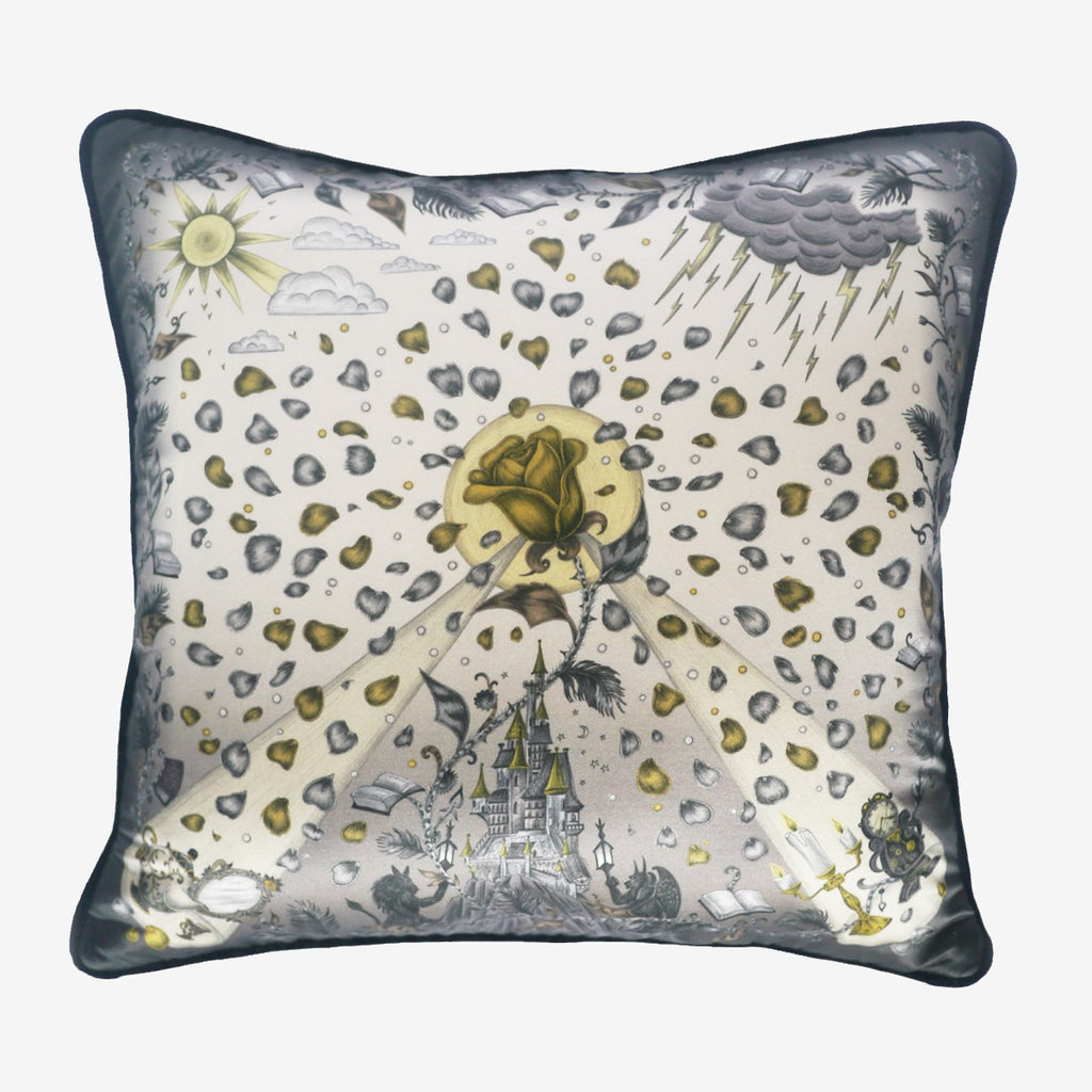 A photo of the silk and cotton printed Beauty and the Beast cushion in Gold by luxury designer and illustrator Emma J Shipley.