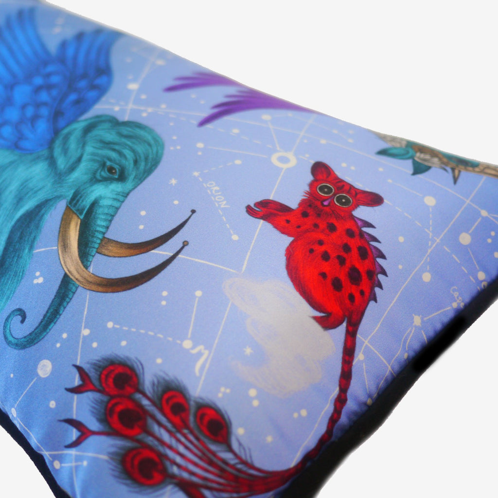 A hand-drawn Jerboa with Peacock feathers, featured on the luxurious Constellation Bolster cushion by Emma J Shipley.