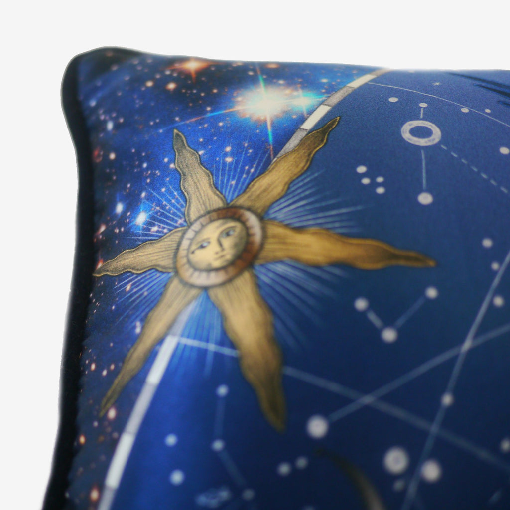 Star signs and constellations feature on the Constellation Bolster Cushion by Emma J Shipley.