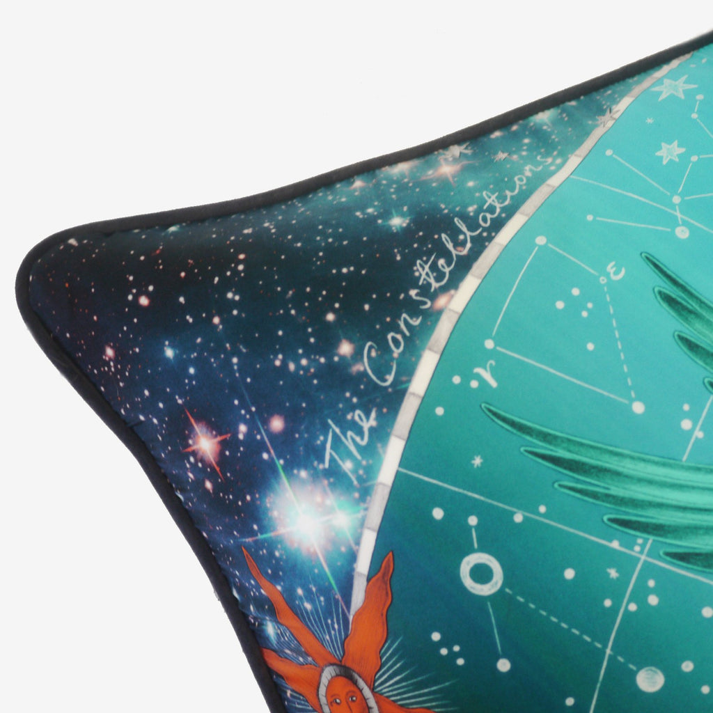 A closer look at the detailed writing 'The Constellations' on Emma J Shipley's luxurious Constellation Cushion.
