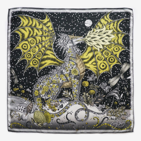 The Emma J Shipley Drakon Silk Neckerchief, made in the UK using 100% silk