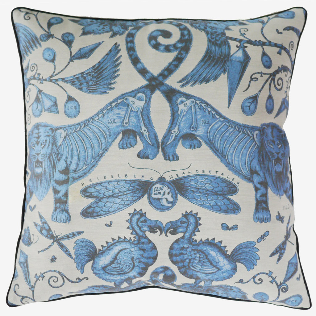 The flat shot of the new Emma J Shipley Jacquard Woven Gold Extinct Cushion