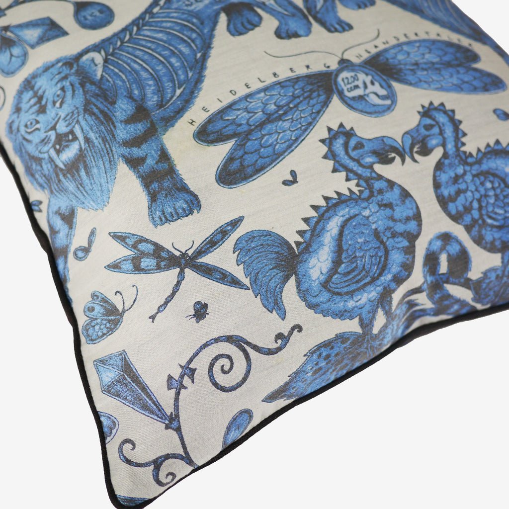 Detailed image of the beasts featured on the Emma J Shipley Extinct Jacquard Woven cushion