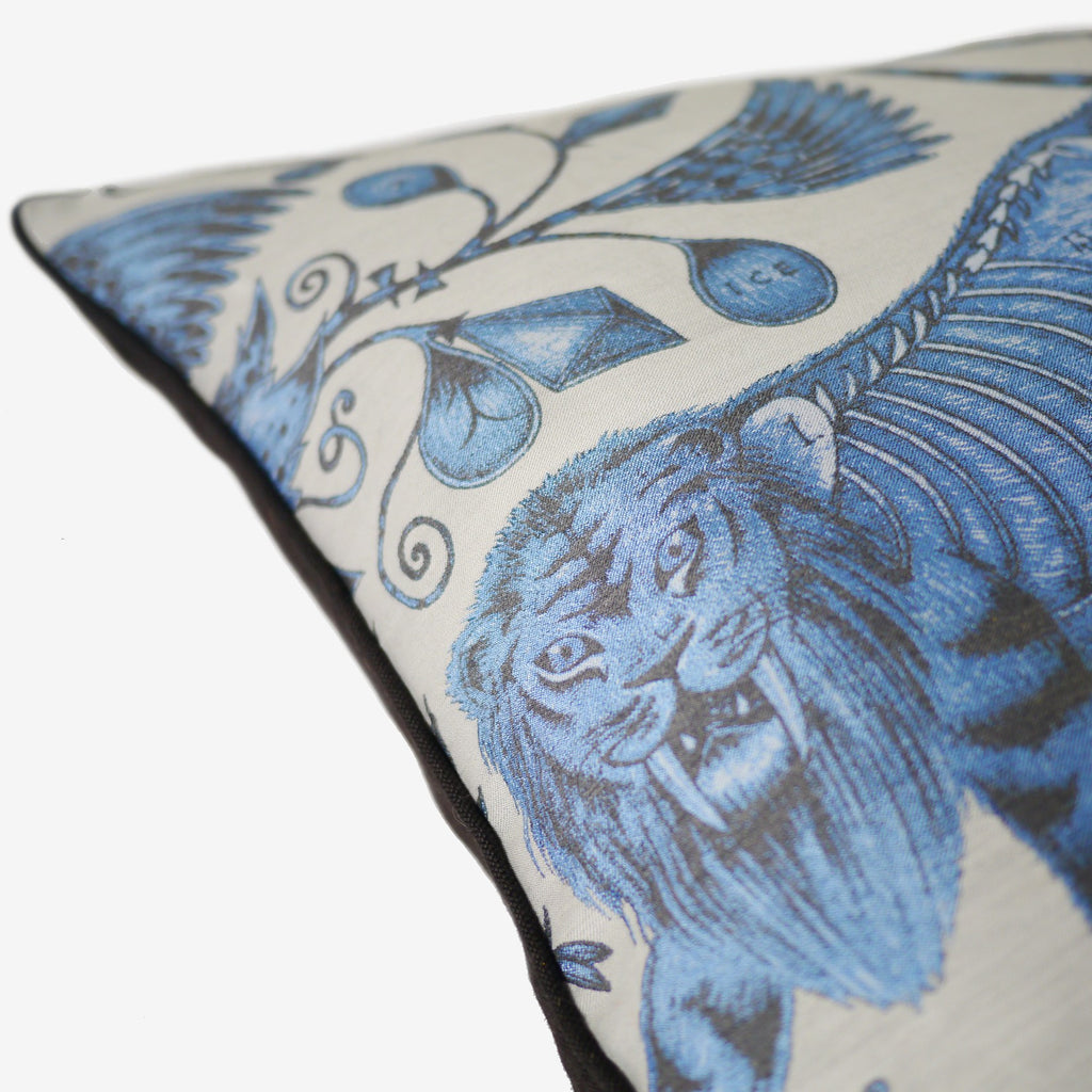 The Sabre-tooth tiger is intricately drawn on the Extinct Jacquard Woven cushion by Emma J Shipley