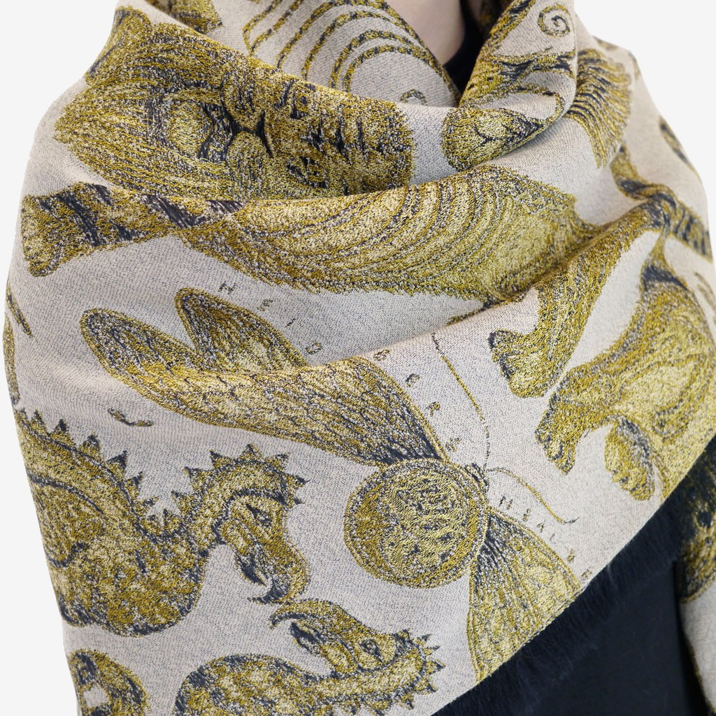 Extinct Jacquard Woven Scarf with Fringing