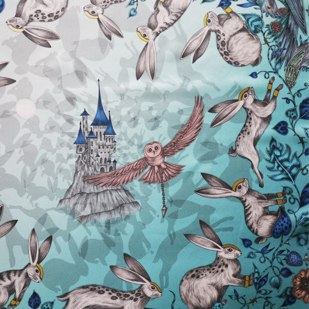 The hand-drawn design features a looming castle, owes and helmeted rabbits by Emma J Shipley.