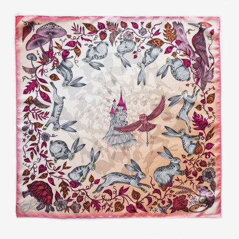The Emma J Shipley Frith Silk Neckerchief in pink, hand-drawn and made in the UK.