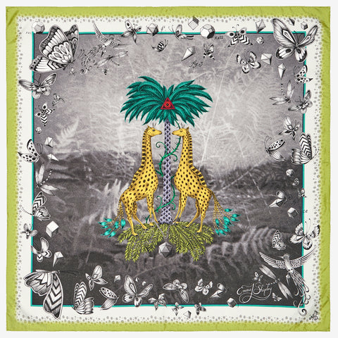 The new Giraffe Silk Neckerchief in Green, by luxury designer and illustrator Emma J Shipley.