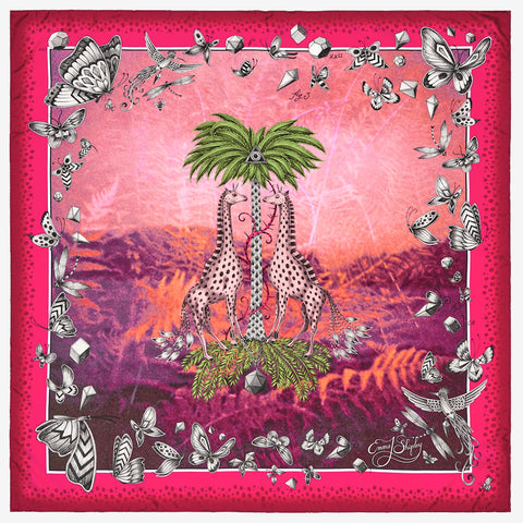 The new Giraffe Silk Neckerchief in Pink, by luxury designer and illustrator Emma J Shipley.