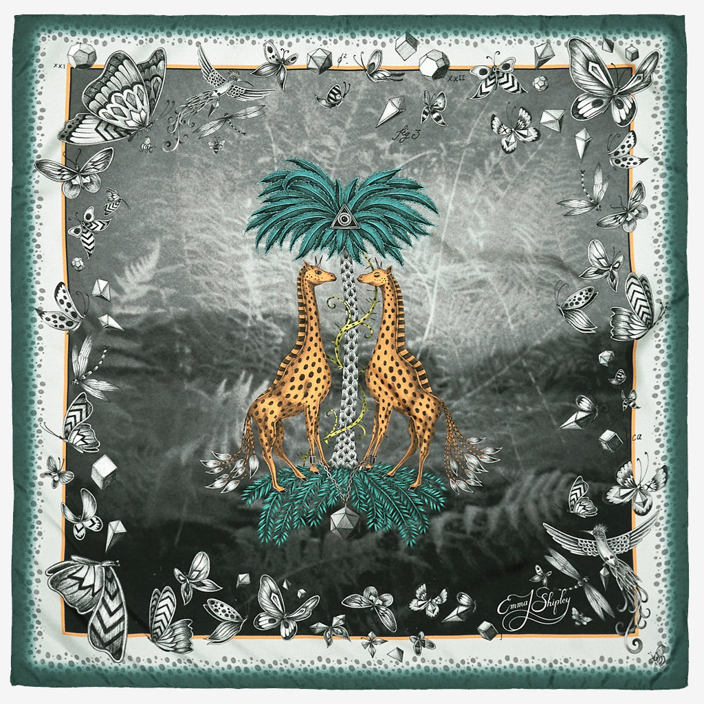 The new Giraffe Silk Neckerchief in Teal, by luxury designer and illustrator Emma J Shipley.