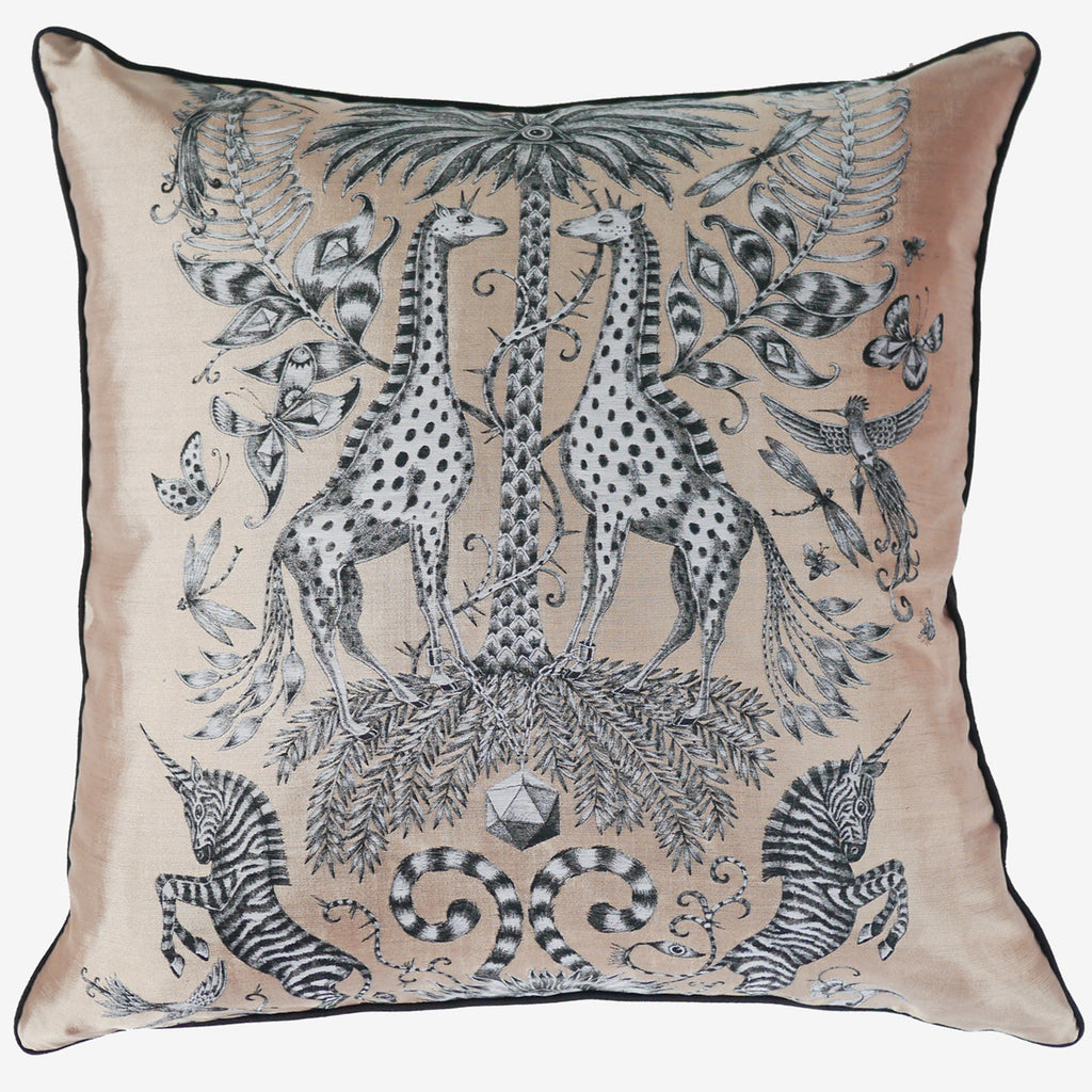 The flat shot of the new Emma J Shipley Jacquard Woven Gold Kruger Cushion