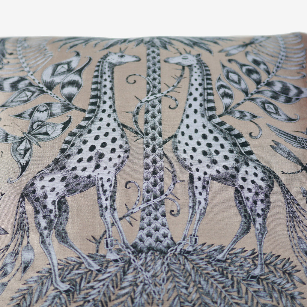 A detailed image of the two giraffes that feature on the Jacquard Woven Kruger Cushion by Emma J Shipley