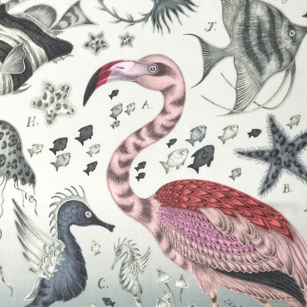 A detailed look at the Flamingo on the grey Neptune Scarf, surrounded by underwater creatures hand-drawn by Emma J Shipley on a modal blend scarf.