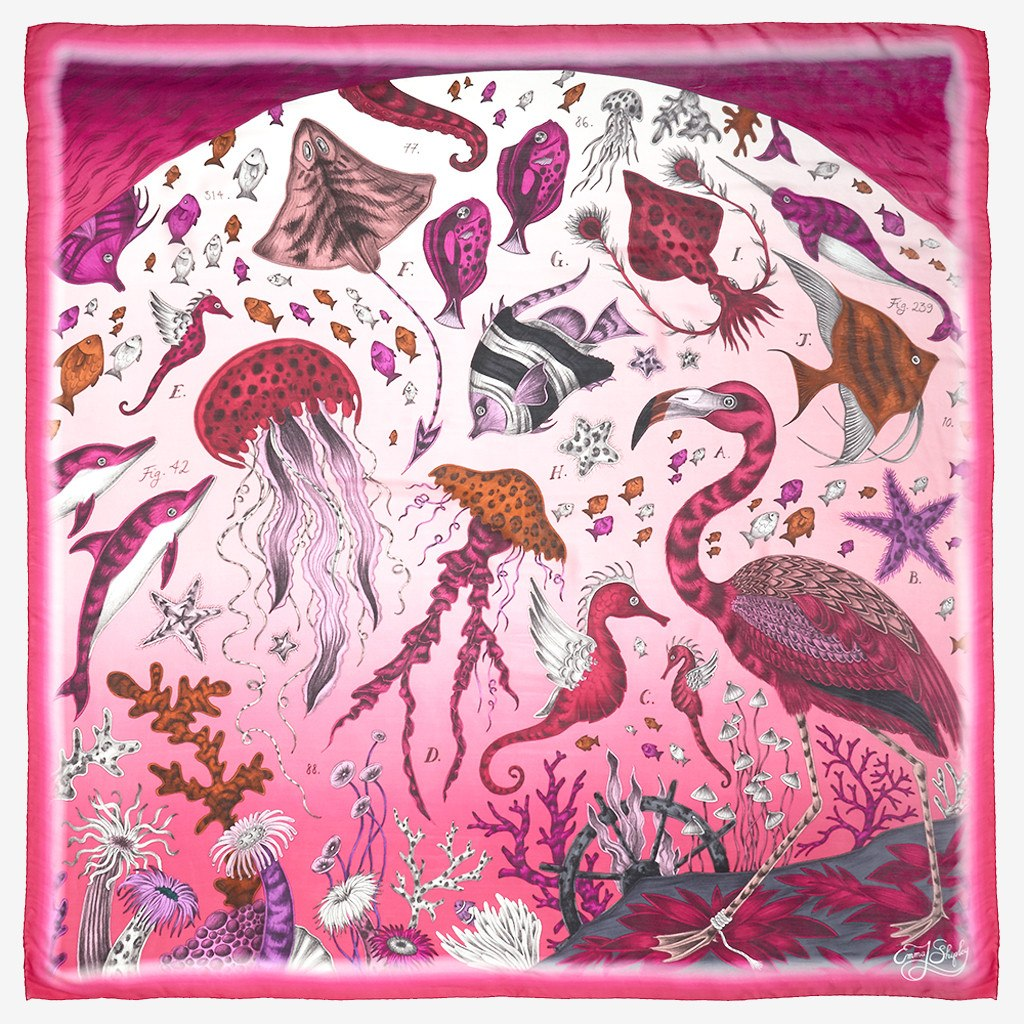 Flat shot image of the Neptune Silk Chiffon Scarf in Pink by luxury designer and illustrator Emma J Shipley