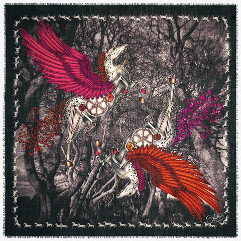 The new Pegasus Fine Wool Scarf in Orange, by luxury designer and illustrator Emma J Shipley.