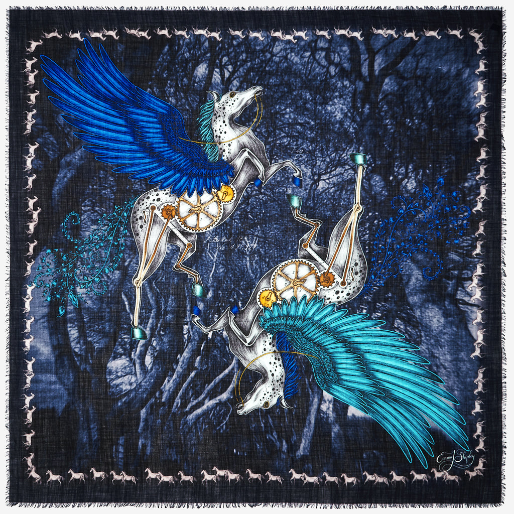 The new Pegasus Fine Wool Scarf in Blue, by luxury designer and illustrator Emma J Shipley.