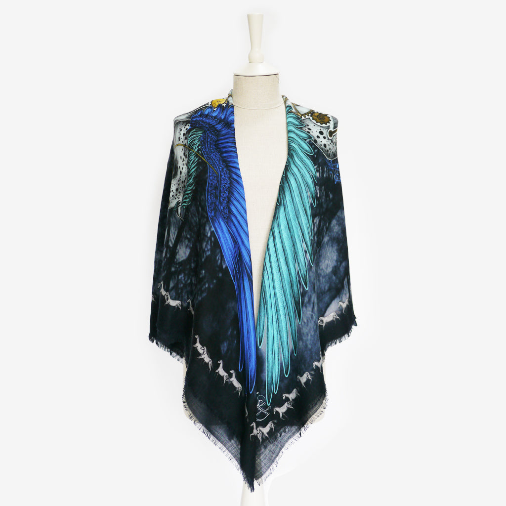 A tied example of the Pegasus Fine Wool Scarf by Emma J Shipley, taken from the Heroes collection.