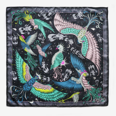 The Phoenix Silk Neckerchief in Navy by luxury designer and illustrator Emma J Shipley
