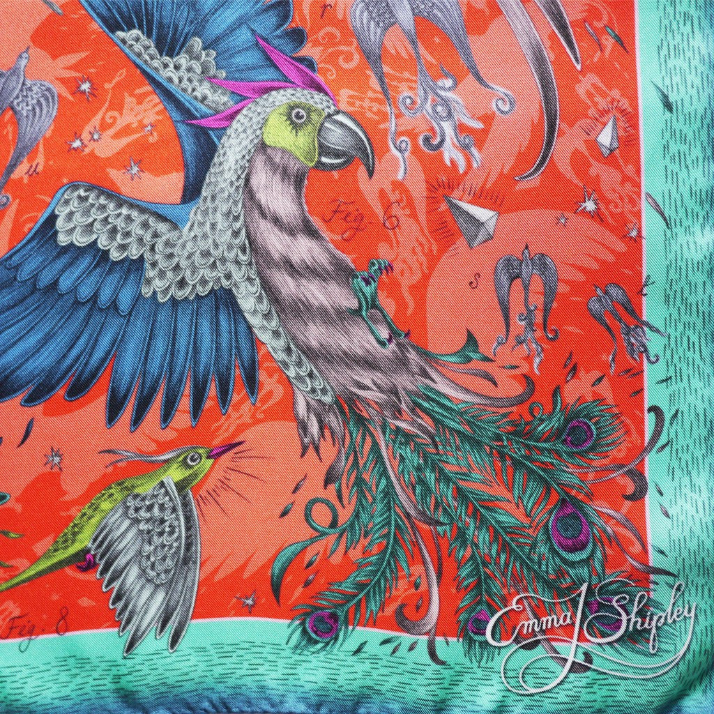 The fantastical birds in flight are hand-drawn and printed onto the finest 100% silk scarves, made in the UK.