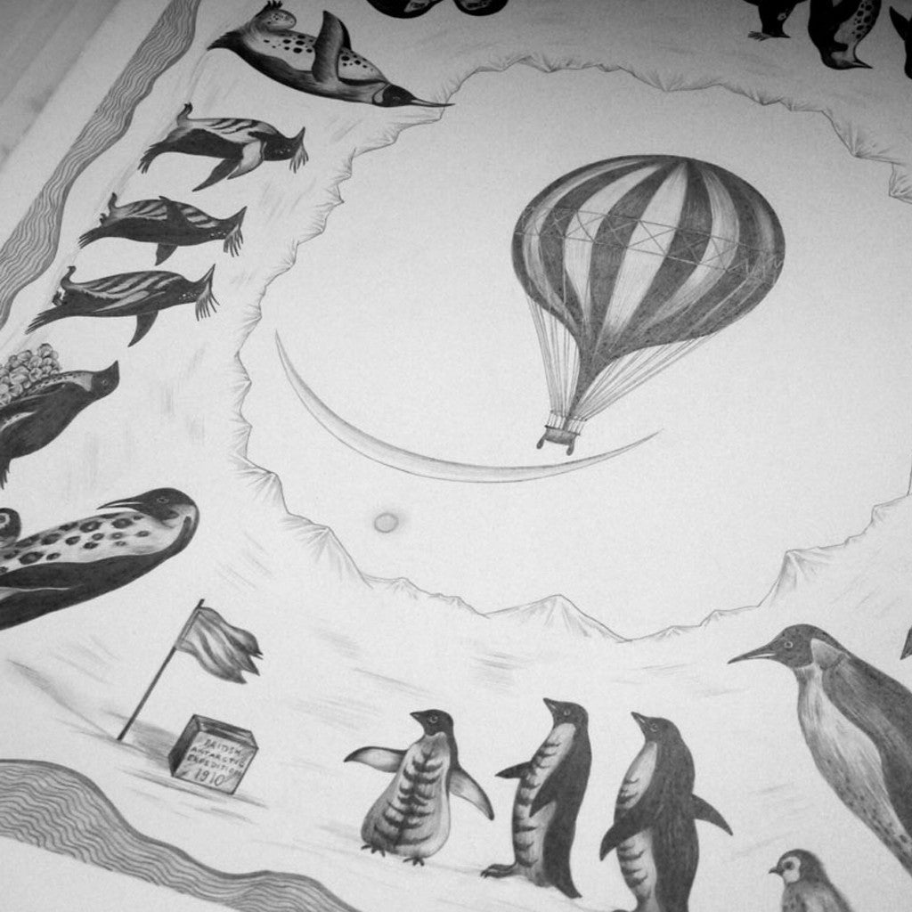 The original hand-drawn illustration of the magical hot air balloon and penguins, used on the Expedition Cushion by Emma J Shipley.