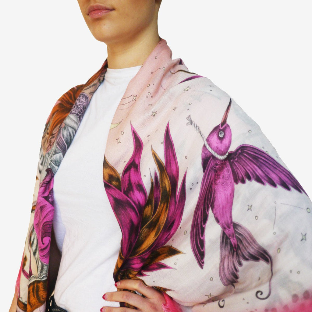 Magical birds feature on the Sirens Modal Blend Scarf in magenta by Emma J Shipley.