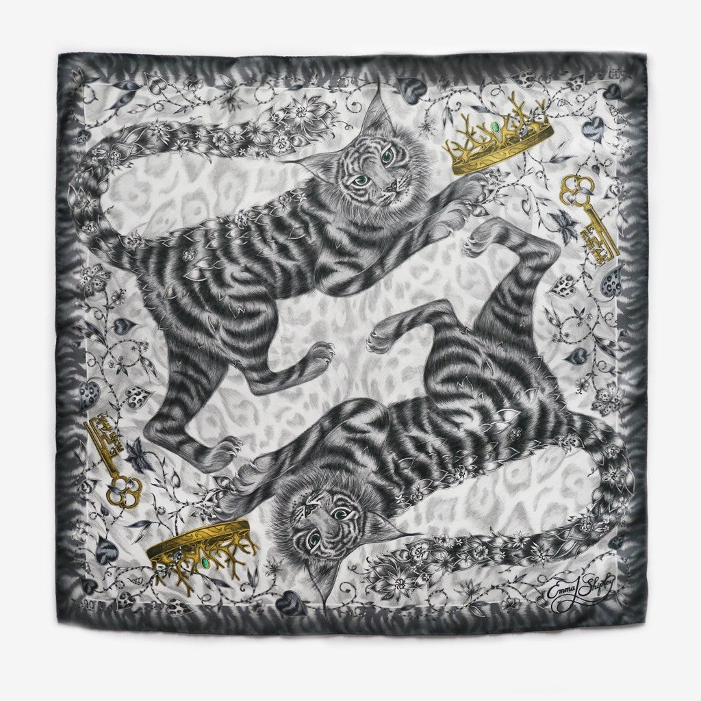 The Shadowcats Silk Neckerchief in Grey, by luxury illustrator and designer Emma J Shipley.
