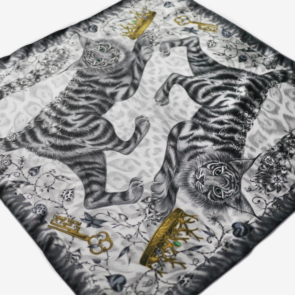 The hand-drawn Shadowcats design is printed onto luxurious 100% silk, made in the UK.