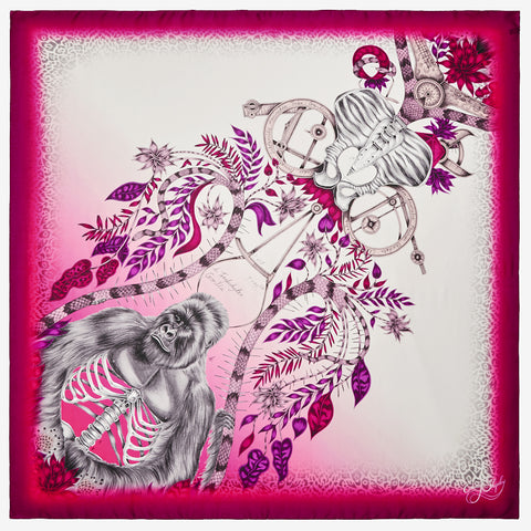 The new Silverback Silk Chiffon Scarf in Pink, by luxury designer and illustrator Emma J Shipley.