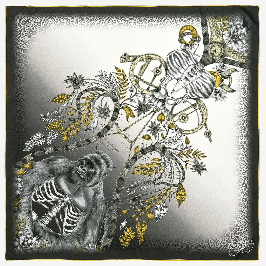 The new Silverback Silk Neckerchief in Gold, by luxury designer and illustrator Emma J Shipley.