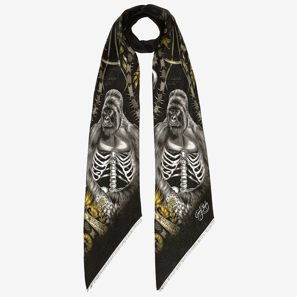 The new Silverback Silk Skinny Scarf in Gold, by luxury designer and illustrator Emma J Shipley.