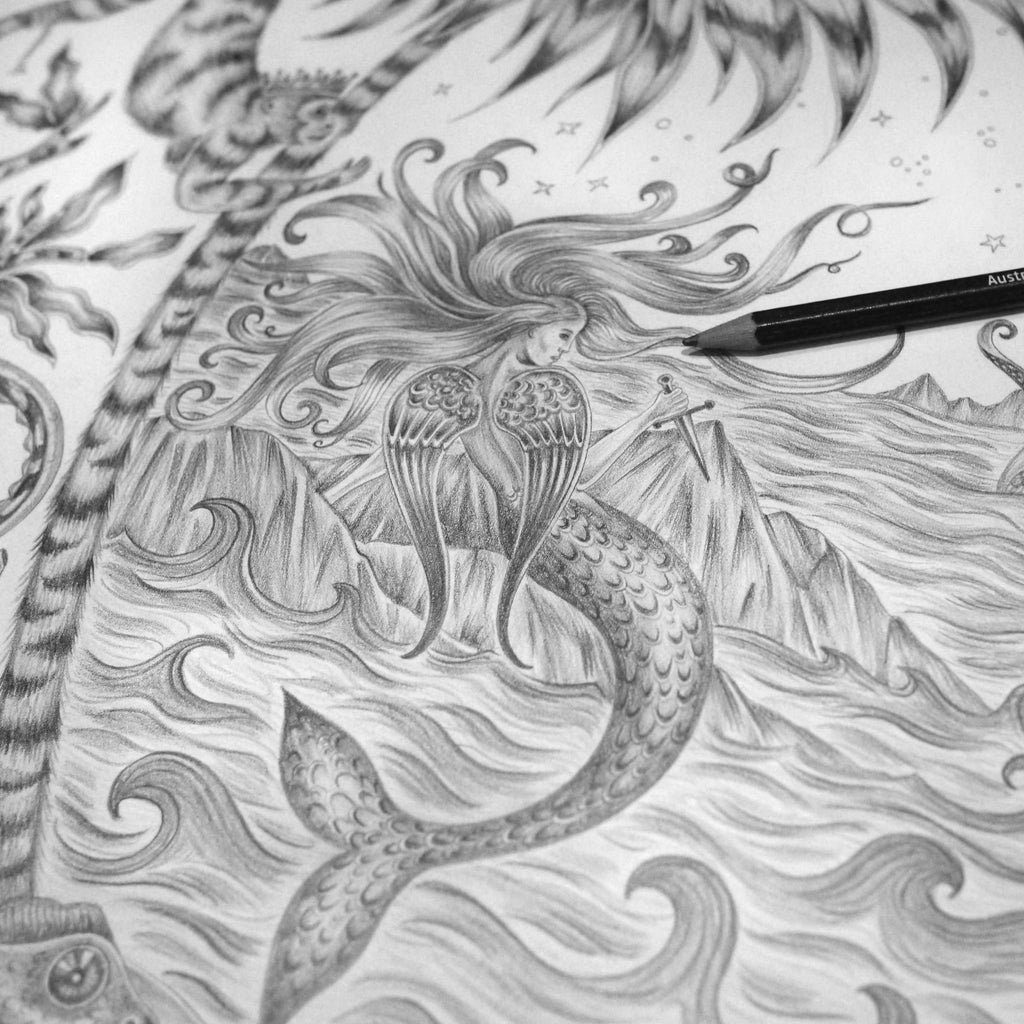 A photo of the Sirens drawing featuring mermaids and sea scenes by luxury designer and illustrator Emma J Shipley.