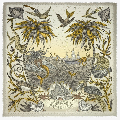 Flat shot image of the Sirens Modal Blend Scarf in Gold by luxury designer and illustrator Emma J Shipley