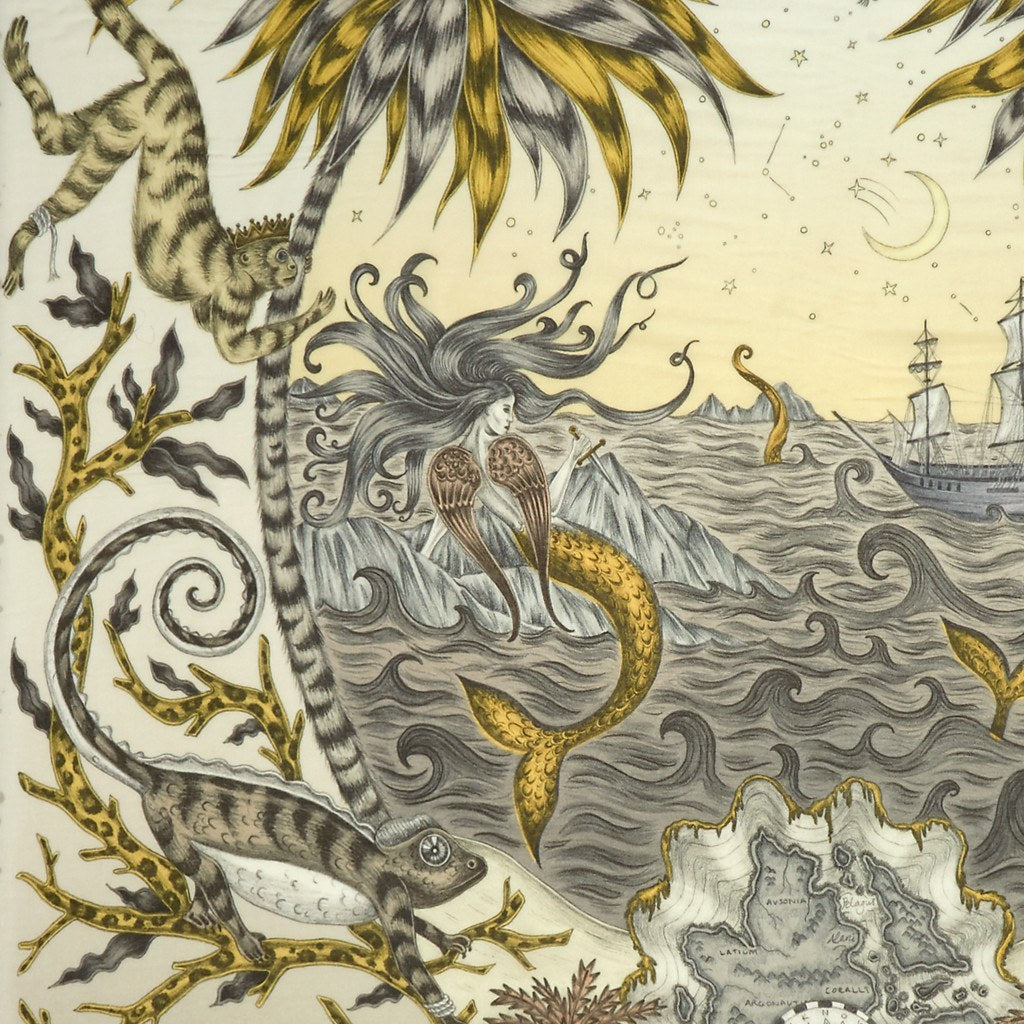 A detailed look at the Siren in Gold, surrounded by mythical creatures hand-drawn by Emma J Shipley on a modal and cashmere scarf.