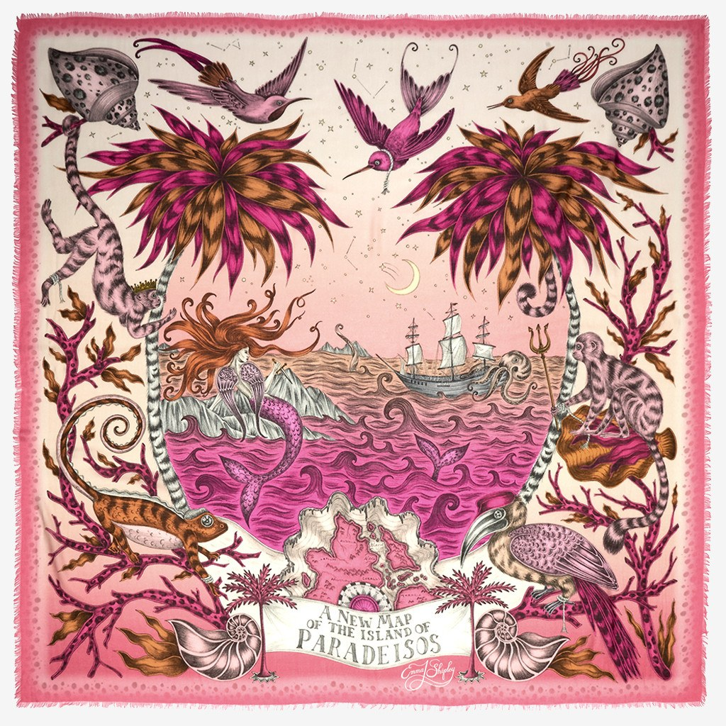 Flat shot image of the Sirens Modal Blend Scarf in Magenta by luxury designer and illustrator Emma J Shipley