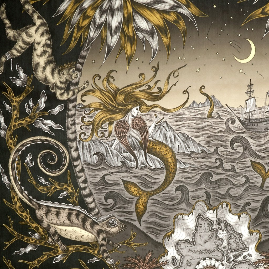 A detailed look at the Siren in Black, surrounded by mythical creatures hand-drawn by Emma J Shipley on a silk chiffon scarf.