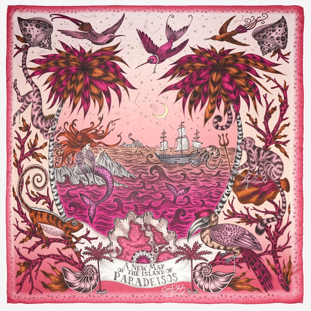 Flat shot image of the Sirens Silk Chiffon Scarf in Magenta by luxury designer and illustrator Emma J Shipley