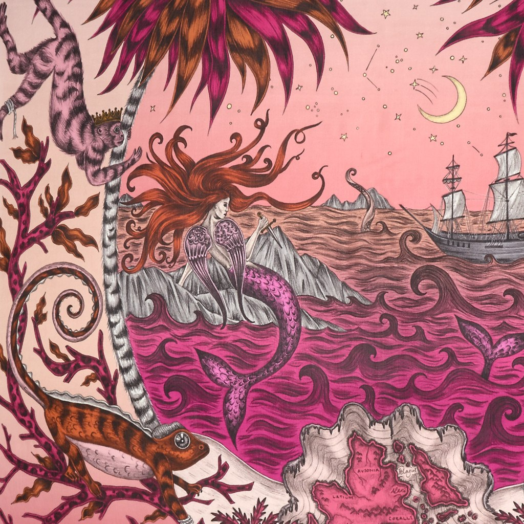 A detailed look at the Siren in Magenta, surrounded by mythical creatures hand-drawn by Emma J Shipley on a silk chiffon scarf.