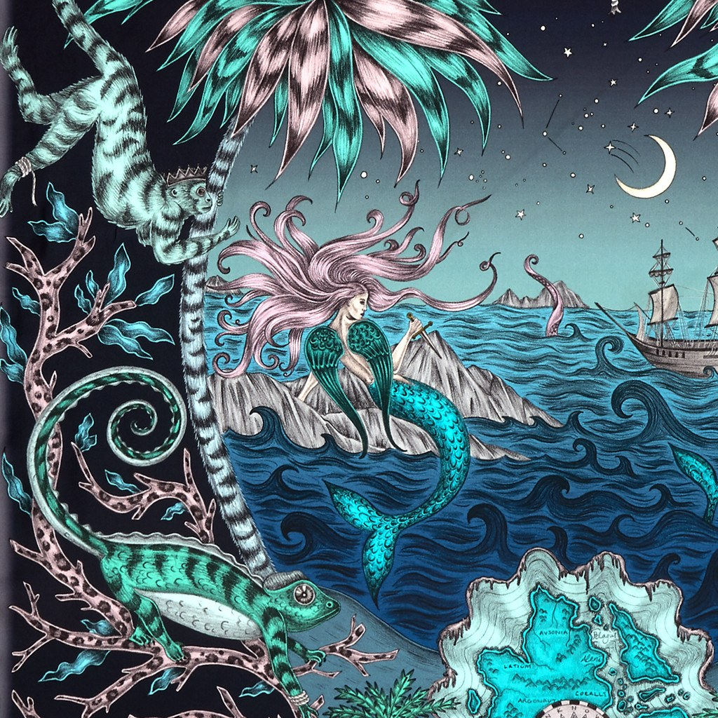 A detailed look at the Siren in Navy, surrounded by mythical creatures hand-drawn by Emma J Shipley on a silk twill scarf.